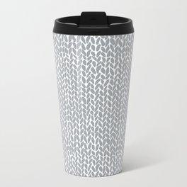 Hand Knit Light Grey Metal Travel Mug