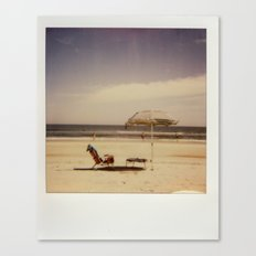 Beach Umbrella - Polaroid Canvas Print