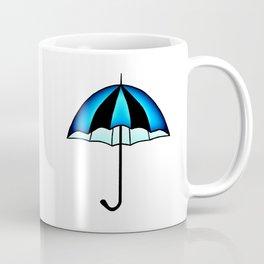 Bright Blue Black Rain Umbrella Illustration Coffee Mug