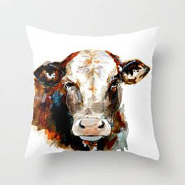 Cow watercolor Throw Pillow