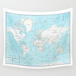 World's Oceans Bathymetry Map Wall Tapestry