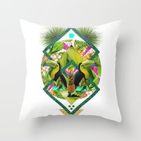 kris tate Throw Pillows featuring ▲ TROPICANA ▲ by KRIS TATE x BOHEMIAN BLAST by ▲ BOHEMIAN BLAST ▲
