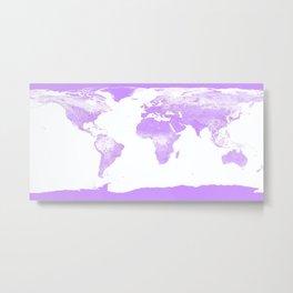 wOrld Map Lavender Metal Print