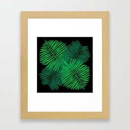 Modern Tropical Palm Leaves Painting black background Framed Art Print
