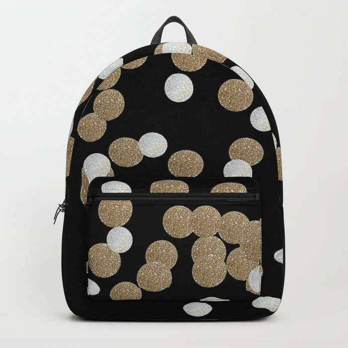 Glamorous chic New year eve party minimalist black gold confetti Backpack
