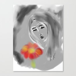 Girl with a red flower Canvas Print