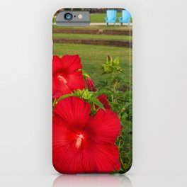 The Riverfront 2 - Red Hibiscus Botanical / Nature / Floral Photograph iPhone Case