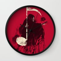 death note Wall Clocks featuring Death Note by Tobe Fonseca