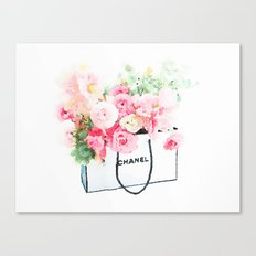 Shopping bag and flower Canvas Print