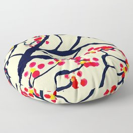 Hand-painted Watercolor Chinese Plum Blossom Floor Pillow
