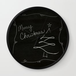 Merry Christmas in chalk Wall Clock