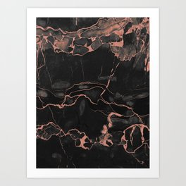Black Marble and Rose Gold Art Print