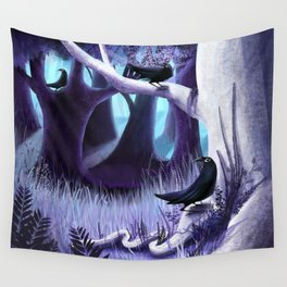 The Ostragon Woodlands Where Bright Ravens Watch Wall Tapestry