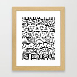 Wavy Tribal Lines with Shapes - Doodle Drawing Framed Art Print