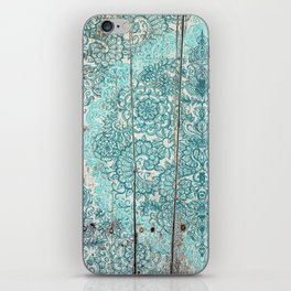 Teal & Aqua Botanical Doodle on Weathered Wood iPhone Skin