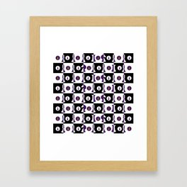 Violet and Gold Chessboard and Chess Pieces pattern Framed Art Print