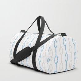 Abstract hand painted blue cream watercolor polka dots stripes Duffle Bag