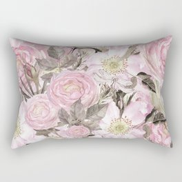 Floral Vintage painterly background in pink with Roses Flowers and insect Rectangular Pillow