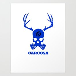 Carcosa Gas Mask Blue Art Print