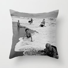 Bathing Woman in Vietnam - analog  Throw Pillow