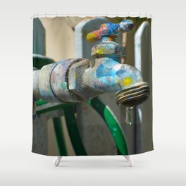 Colorful Faucet Shower Curtain