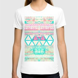 Pink Teal Aztec Pattern Triangles Girly Watercolor T-shirt