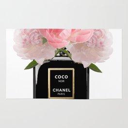 Black perfume floral Rug