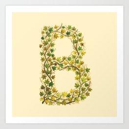 Leafy Letter B Art Print