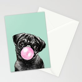 Bubble Gum Black Pug in Green Stationery Cards