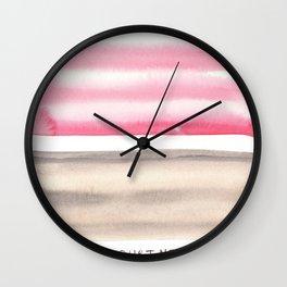 Pink Sepia |watercolour painting |minimalist watercolor Wall Clock