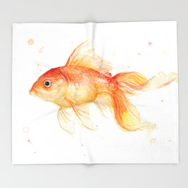 Goldfish Watercolor Fish Throw Blanket