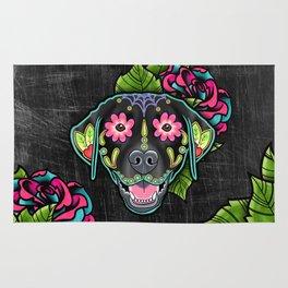 Labrador Retriever - Black Lab - Day of the Dead Sugar Skull Dog Rug