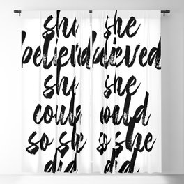 She Believed She Could So She Did Bold Script Blackout Curtain