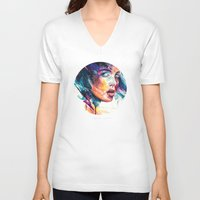 glass V-neck T-shirts featuring sheets of colored glass by agnes-cecile