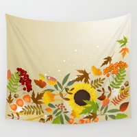 thanksgiving Wall Tapestries featuring Golden Thanksgiving by FantasyArtDesigns