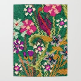 Starry Floral Felted Wool, Green Poster