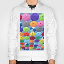 Myriads of Colorful Umbrellas Floating in the Sky portrait painting Hoody