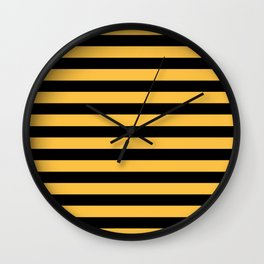 Yellow and Black Bumblebee Stripes Wall Clock