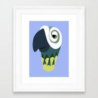 parrot Framed Art Prints featuring Parrot  by Jessica Slater Design & Illustration
