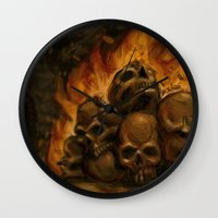 castlevania Wall Clocks featuring Flaming Skulls Digital Painting by Marcus Coltin