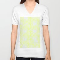 damask V-neck T-shirts featuring Damask Yellow by SimplyChic