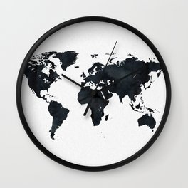 World Map in Black and White Ink on Paper Wall Clock