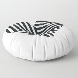 Black and White Abstract Stripe Heart Floor Pillow