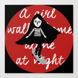 A girl walks home alone at night  Canvas Print