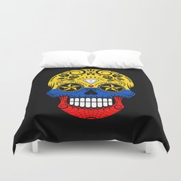 Sugar Skull with Roses and Flag of Colombia Duvet Cover