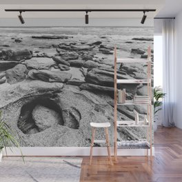 Coquina Rocks in Black and White Wall Mural
