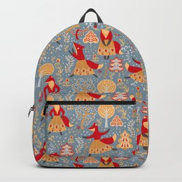 Dancing foxes in a fairy forest. Folk Art. Seamless pattern. Backpack