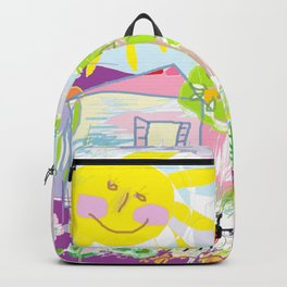 My happy world Doodle for children room Nursery home decor Backpack