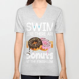 Swimming Gift design Swim Like Their Are Donuts Unisex V-Neck
