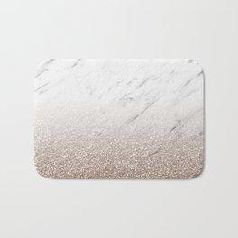 Glitter ombre - white marble & rose gold glitter Bath Mat